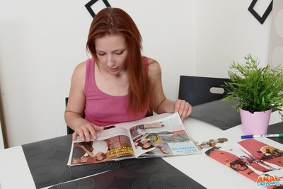 Sveta is a infant and hawt woman, and is reading a magazine, as this girl waits for her granny man. He