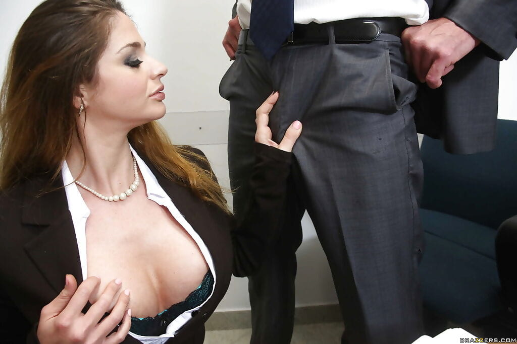 Dark brown milf with colossal meatballs giving a kiss and anal-copulation in the office
