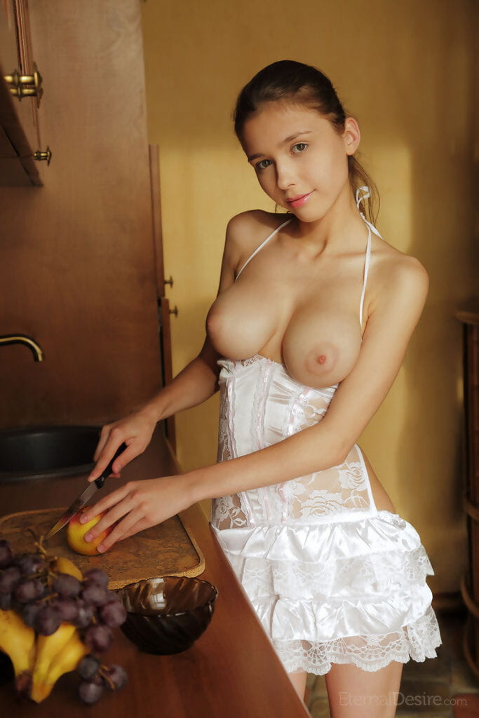 Nice-looking young cutie makes public her massive scones and smooth on top uterus during eating gay