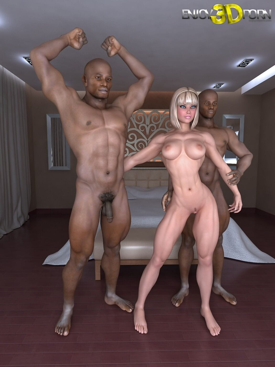 A duet of ebony males fuck an built white pretty - part 137