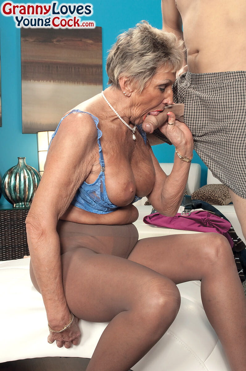 Over 70 mature Sandra Ann seduces a younger fellow in crotchless tube