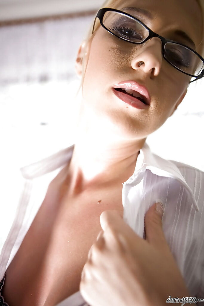 Seductive hottie in glasses Carla Cox slipping off her dress and sexy pants