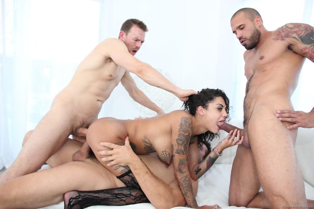 Tattoed vixen enjoys gangbang and acquires anal and twat 2 dug