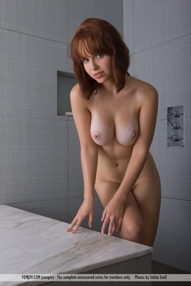 Caucasian solo dear Hayden W grasps her vast mangos whilst voluptuous a bathroom