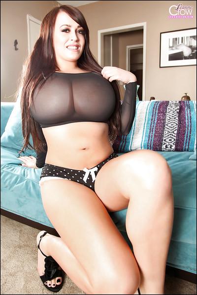 Dark hair pornstar Leanne Crow location in hot strings and high heels