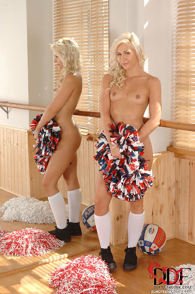 Blond Euro cheerleader Tracy Tasty flaunting useful coed waste in socks