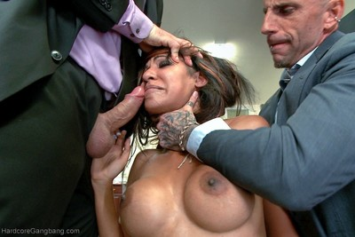 Step-father presents her up to 5 dick-holders in order to seal a business deal!