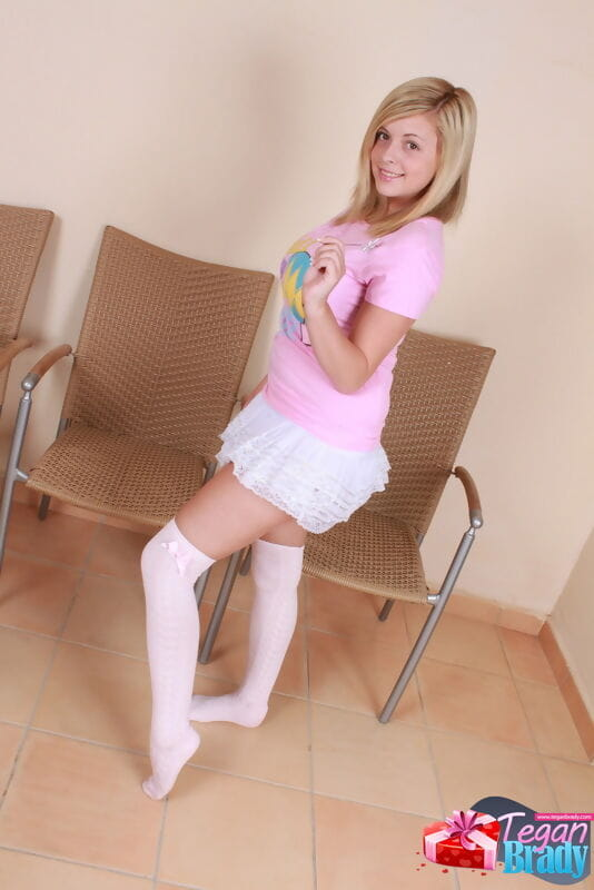 Spectacular amateur gal Tegan Brady teases in a micro petticoat and OTK socks