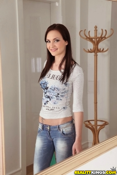 Belle Claire is jolly off her tense jeans and demonstrating her tattoos