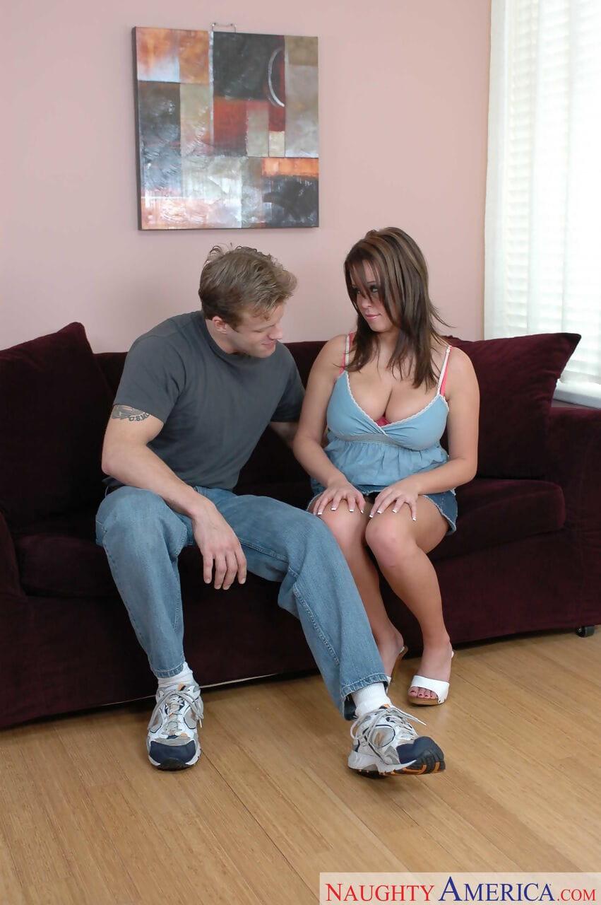 Sticky young infant Brandy Talore titty bonks a vast ramrod & enjoys love making act on a sofa
