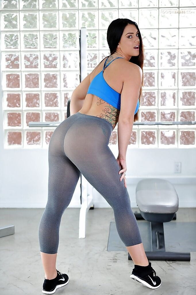 Sporty hottie Alison Tyler working out in spandex strings and flashing gigantic pantoons