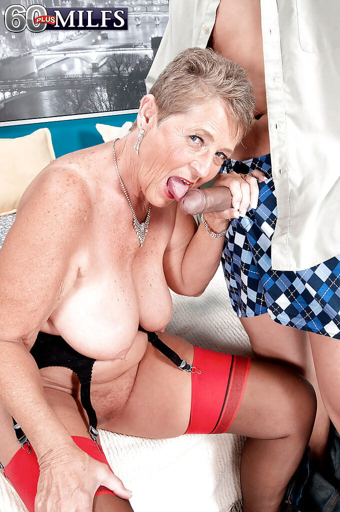 Grandma Joanne Price sticking tongue out for spunk release afterwards intercourse