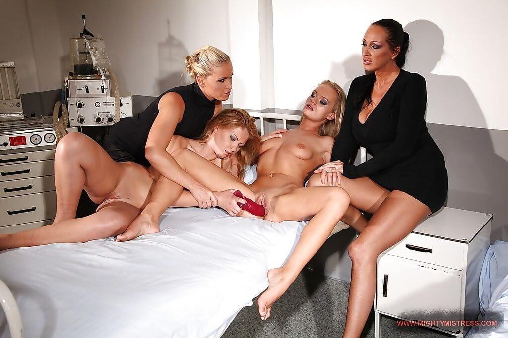 Mandy Bright and Kathia Nobili stroking 2 dominated beauties