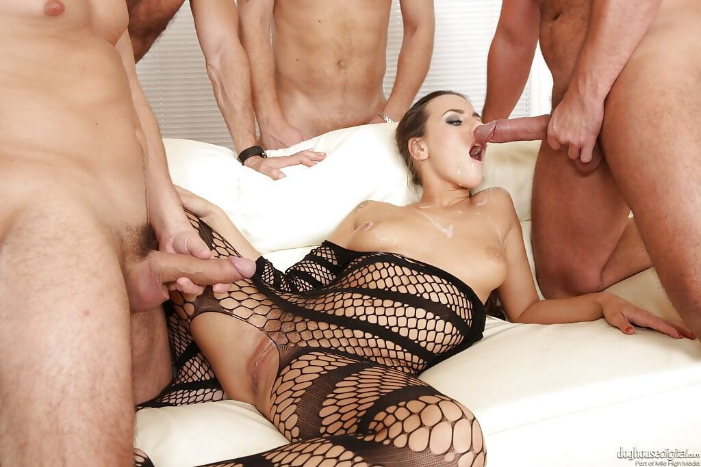 Horny MILF Mea Malone benefits from group-fucked in all fuck holes by large knobs