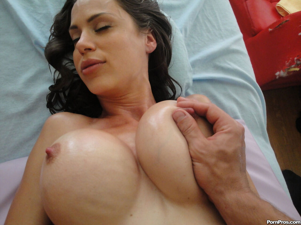 Alluring brown hair McKenzie Lee getting giant tit massage and a face intact of jizz