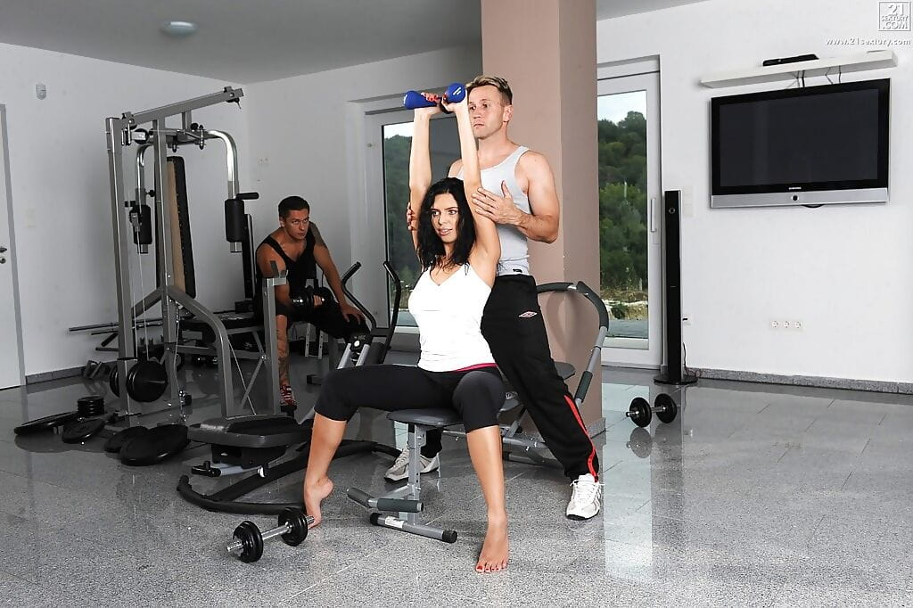 Spandex garments workout lass Kira Hotty has mounds roofed in dick water from 2 dicks