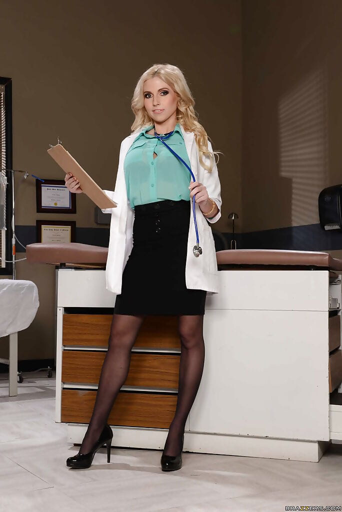 Curvy doctor Christie Stevens is all hot underclothes under her coat