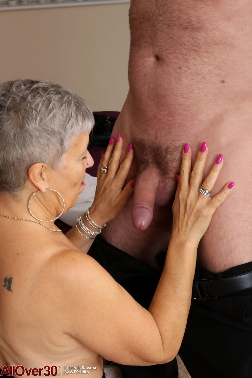 Mature aged Savana bares giant saggy bumpers to fuck juvenile mans heavy stick cowgirl