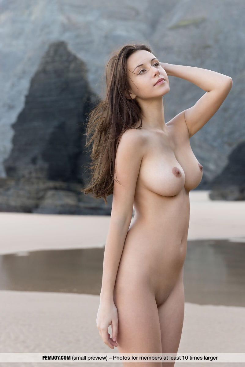 Pretty brunette hair Alisa I shows off her fantastic mangos whilst bare standing on beach