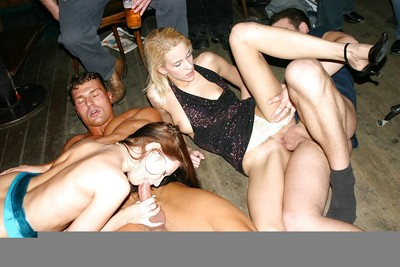 Drunk queens getting feverishly pounded at the appealing groupsex get-together