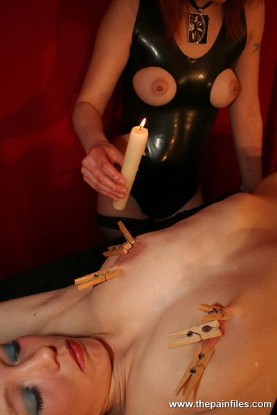 Infant lezdom and her blond subbie in clothespeg and candle wa