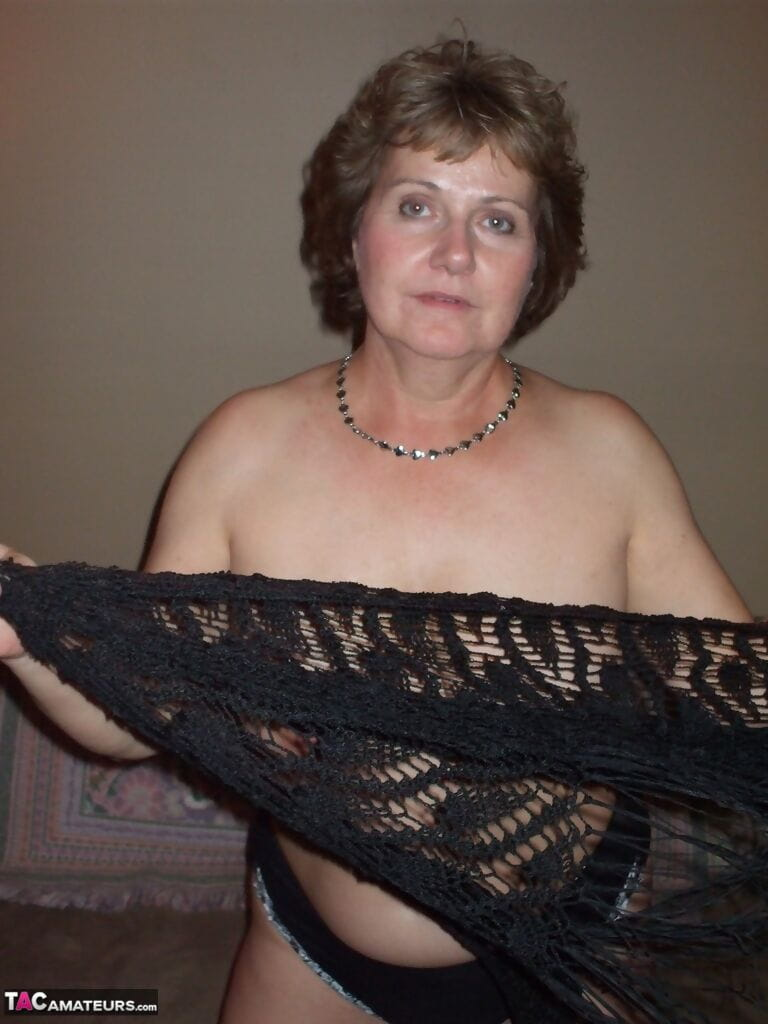 Erotic calm wife Titsy Bliss shes lace shawl to expand topless in appealing string