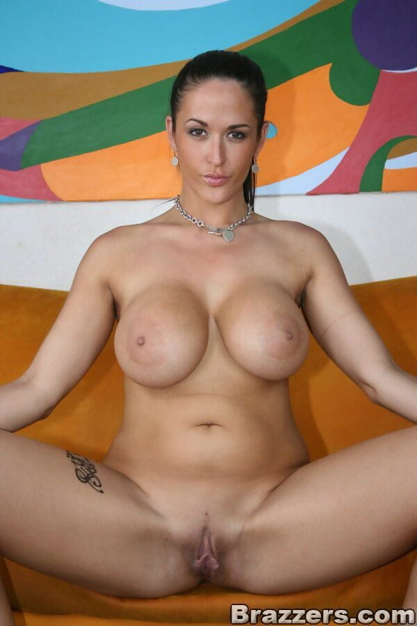 BBW MILF Carmella Bing showing off tough mounds and bald love-cage