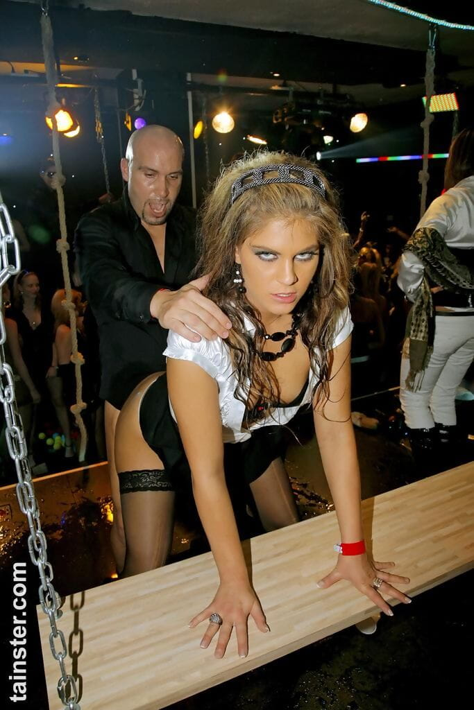 Drunk babes dance away at a club in advance of foundation an gangbang on dance floor