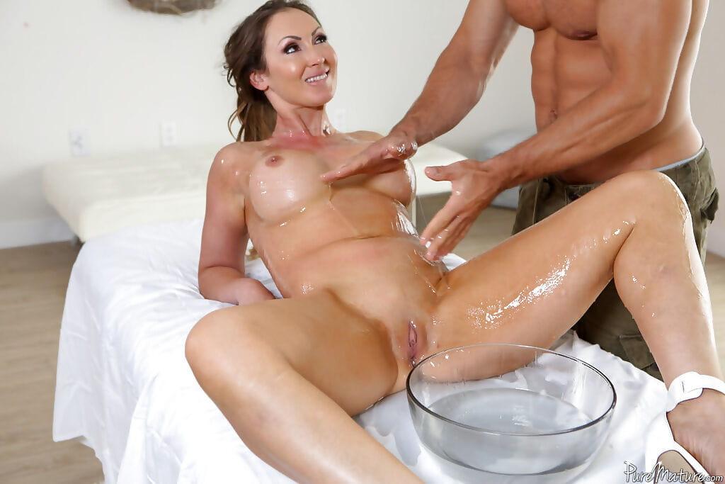 Exposed MILF Yasmin Scott having huge meatballs and shiny on top muff massaged