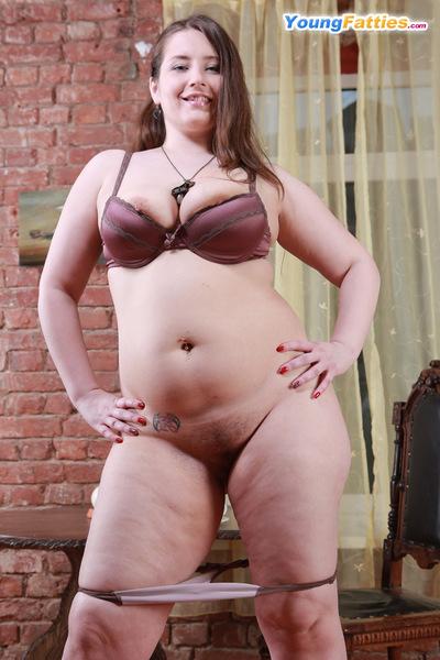 Juvenile whole hottie shows her wobblers and fur pie