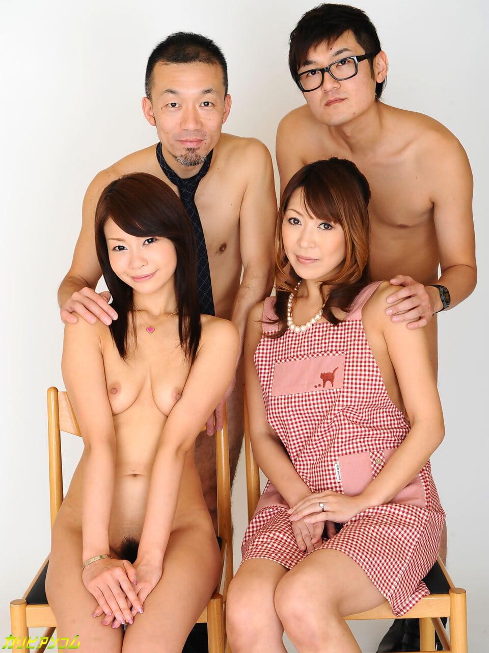 Elegant American & Japanese lasses enjoying a sexy hardcore foursome