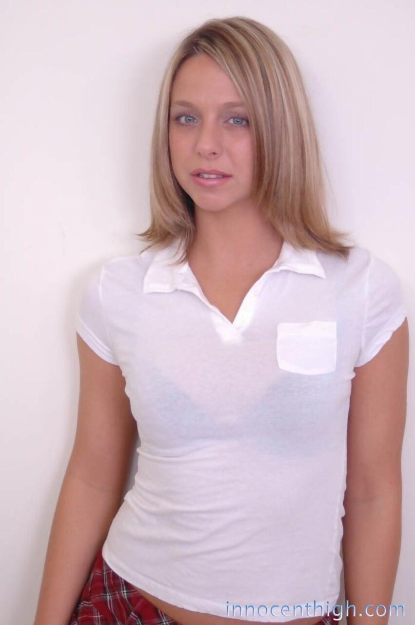 Shy schoolgirl Briana Beach shows off her sticky wazoo in tie panty upskirt