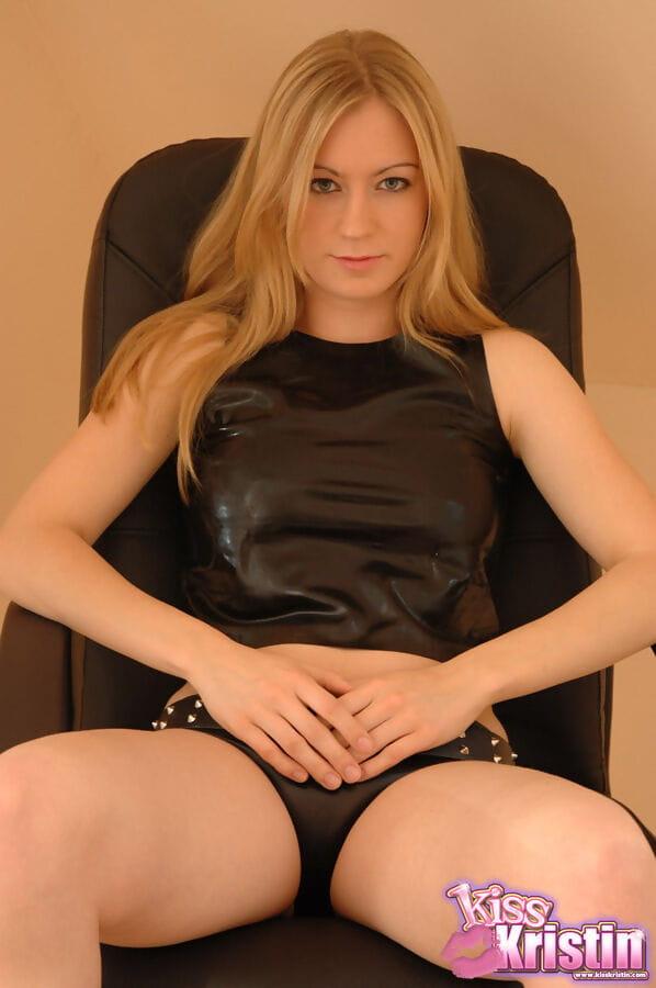 Hawt blond Kristin in latex underware baring miniscule zeppelins and teasing