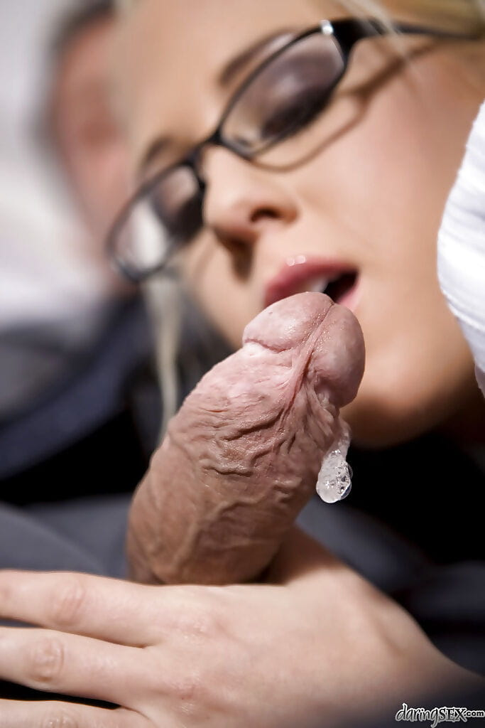 Golden-haired girl in glasses Carla Cox gives a oral play and receives dug hardcore