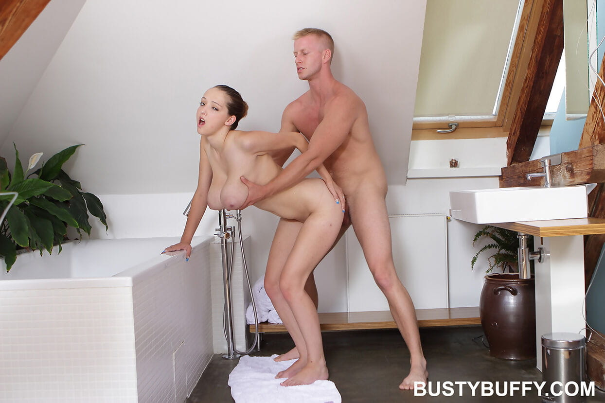 Young gal Buffy grasps heavy bumpers even as a BJ sooner than banging in the washroom
