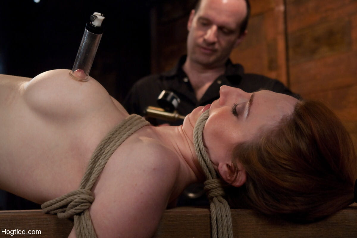 Restrained babe Kendra James obtains machine drilled during the time that painful slaving games