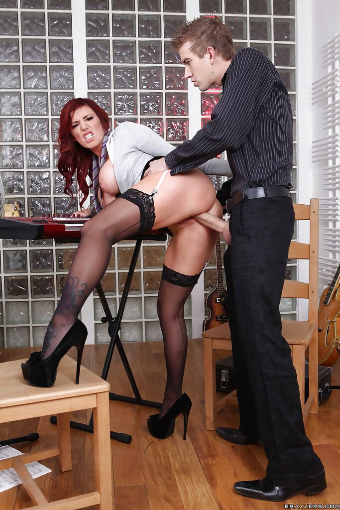 Massive busted redhead doll Yuffie Yulan sucks and humps a huge ramrod