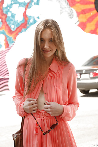 Sinless blue eyed teen Maria Turova posing in garments outside