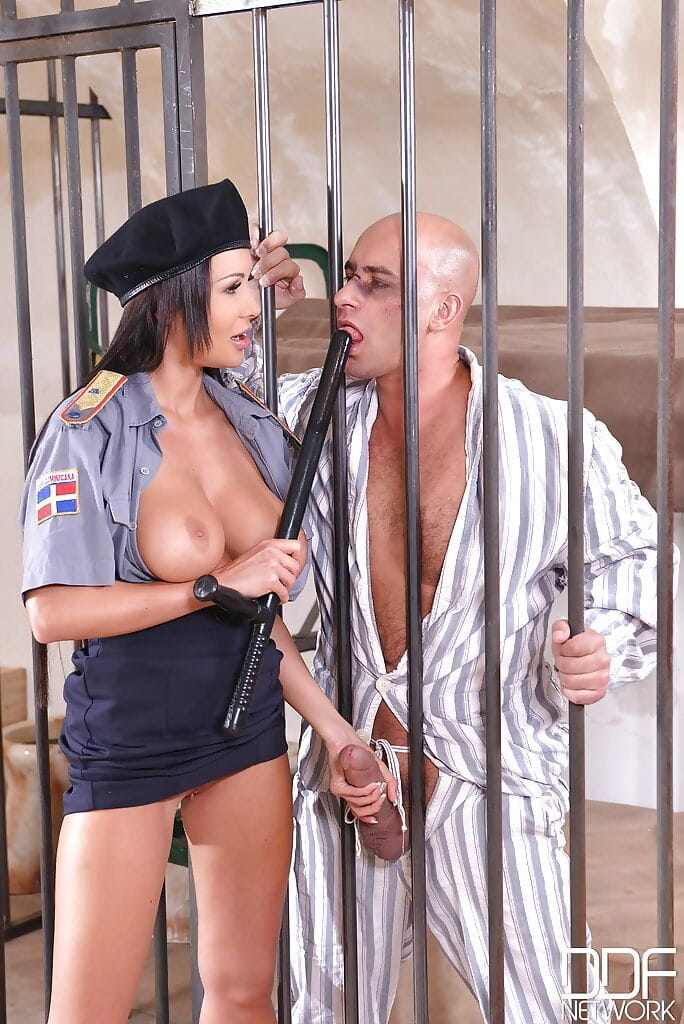European correctional officer Patty Michova flaunting massive juggs in uniform