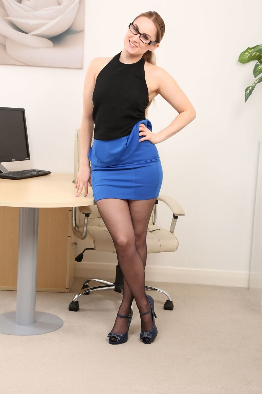 Spectacular fairy-haired Lily May recommends her ordinary titties and extreme legs in nylons