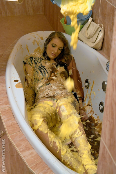 Dark hair kink model has a deviant immodest foodplay in the shower-room