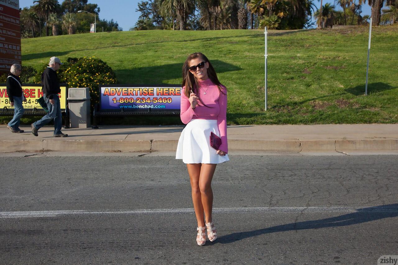 Dark brown juvenile Whitney Westgate flashing her anus and underwear in public