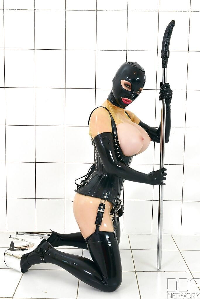 Obsession  Latex Lucy flaunting enormous MILF titties although fucked with sextoy