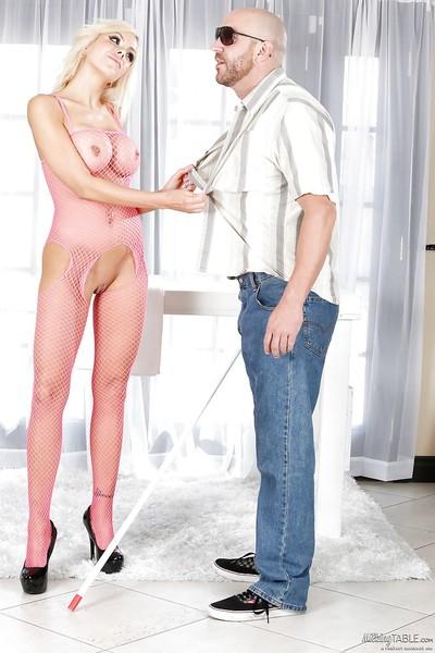 Masseuse Nina Elle is masturbating and engulfing stick of her client