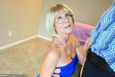 Grandma pretty ray milks out heavy jock