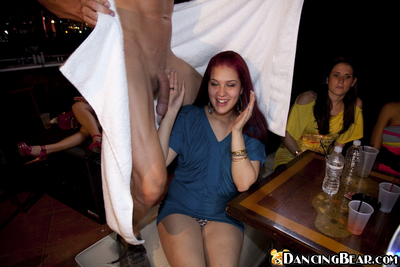 Dark hair hotties do blowjobs to a stripper on their mad gathering