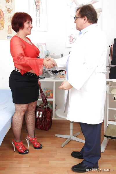 Attractive redhead old woman Manka was screwed with medical lakes