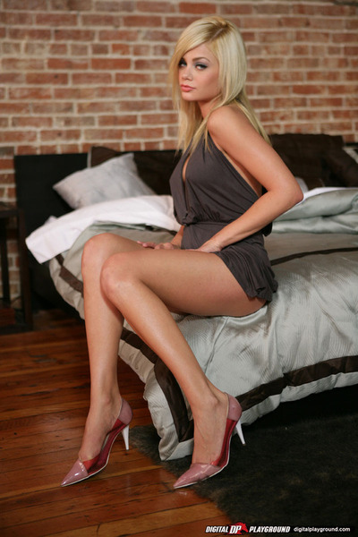 Dainty fairy-haired with meager legs on high heels revealing her polite scoops