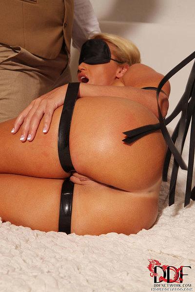 Blindfolded and restrained Kathia Nobili having butt toyed in advance of Sadomasochism DP