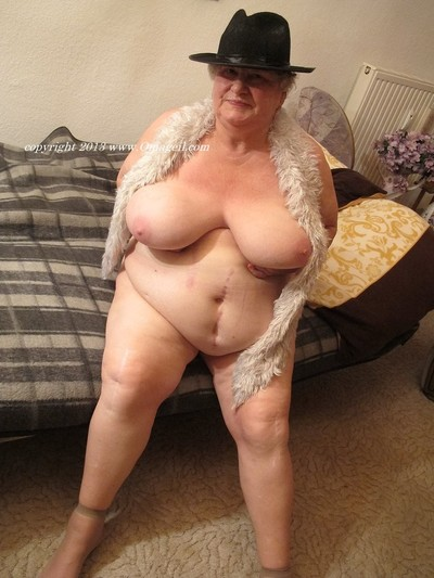 Boobsy undressed old woman full around